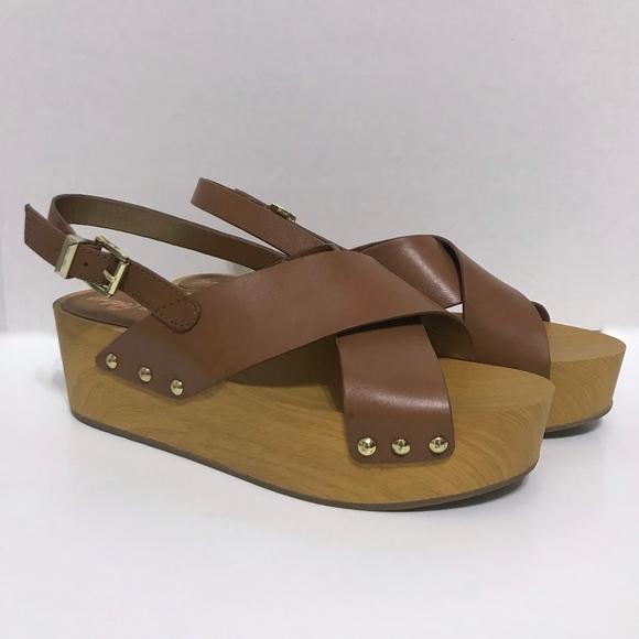 e0c17dcd810 Sam Edelman Bentlee Brown Wood Platform Sandals 11.  M 5c19c73a5c4452546205465e